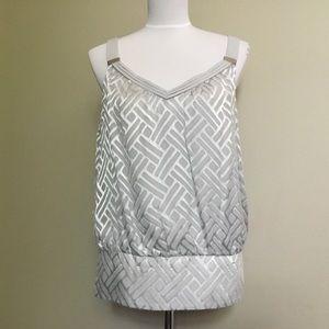NWOT$88 WHBM gray Burnout Velvet silk tnk top M